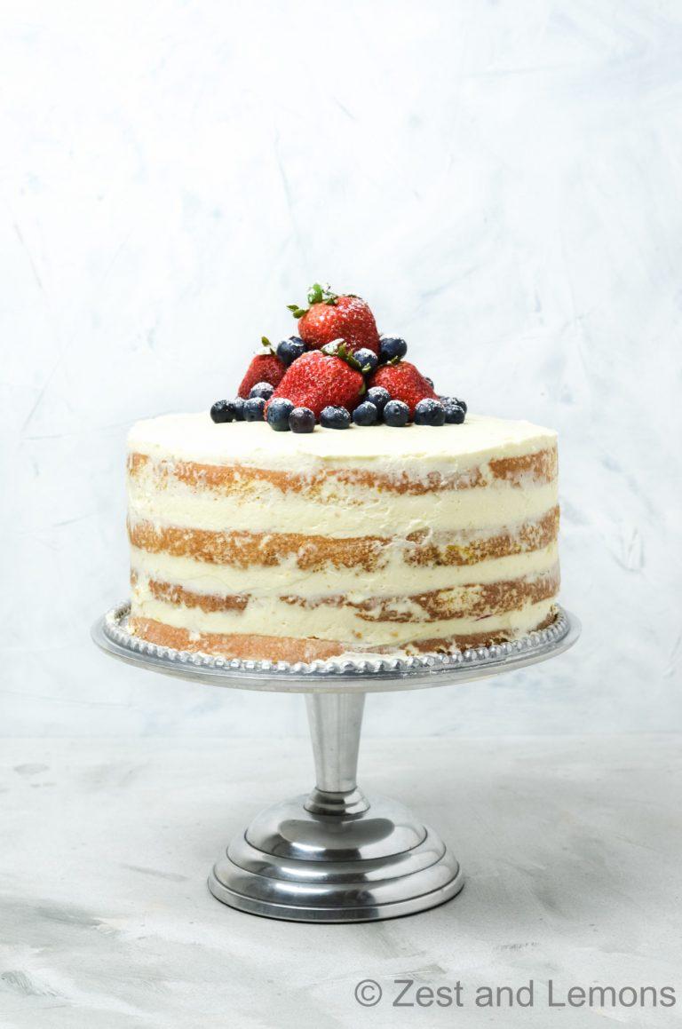 Gluten Free Strawberry-Citrus Naked Cake - Zest and Lemons
