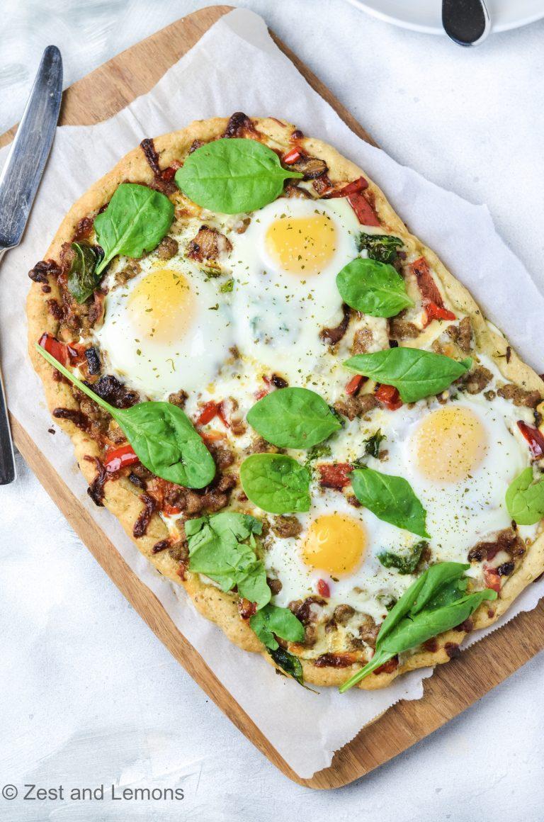 Gluten Free Focaccia Breakfast Pizza - Zest and Lemons