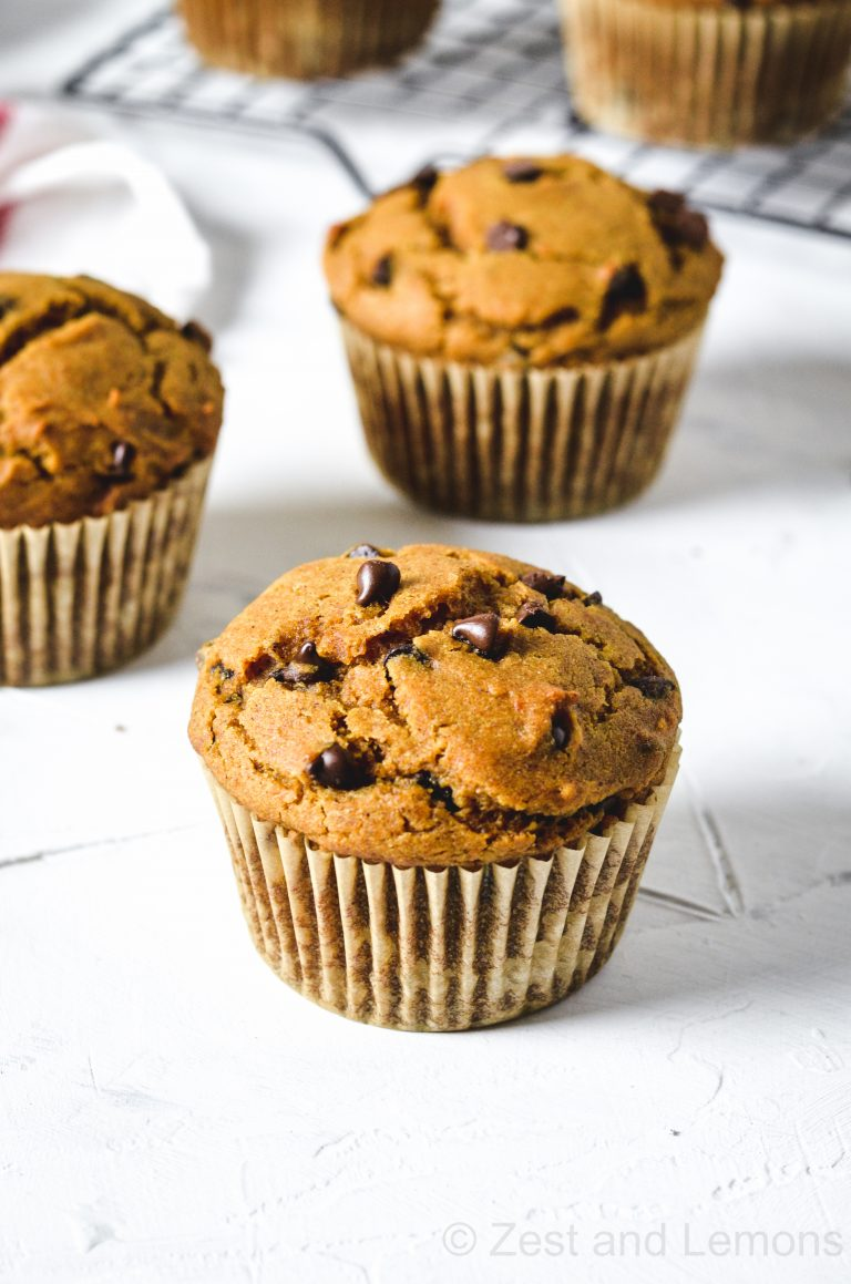 Gluten free pumpkin chocolate chip muffins - Zest and Lemons