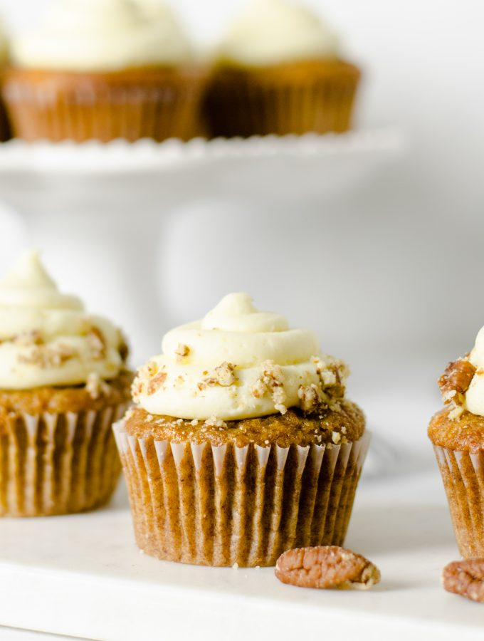 Gluten Free Carrot Cake Cupcakes with Orange Cream Cheese Frosting - Zest and Lemons